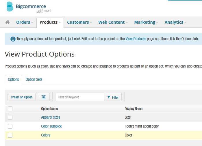 BigCommerce Product Options